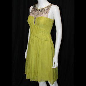 BCBGMaxAzria Lemongrass Green Pleated Party Dress